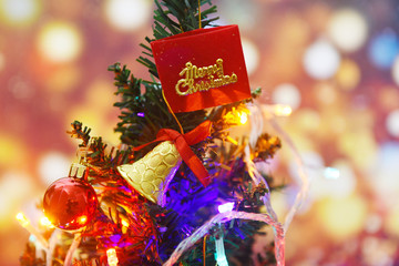 Beautiful decoration christmas tree on blurred colorful bokeh background - Christmas tree with ball...