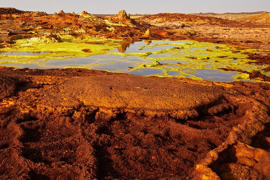 Amazing landscape of unique active sulfur volcano Dallol