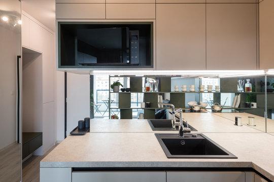 Interior of kitchen in modern apartment