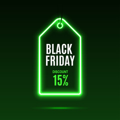 Neon label. Black friday at a discount. EPS10 vector.