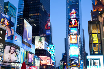 New York City, NY, United States - Advertising billboards at Times Square.