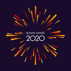 Carte de vœux 2020, dynamique et festive, avec un feu d'artifice aux couleurs chaudes sur un fond noir pour fêter la nouvelle année.