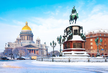 Wall Murals Northern Europe A view of St. Isaac's Cathedral and St. Isaac's square in winter in St. Petersburg