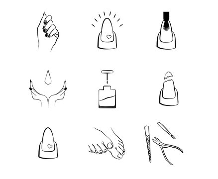 nail icons set manicure