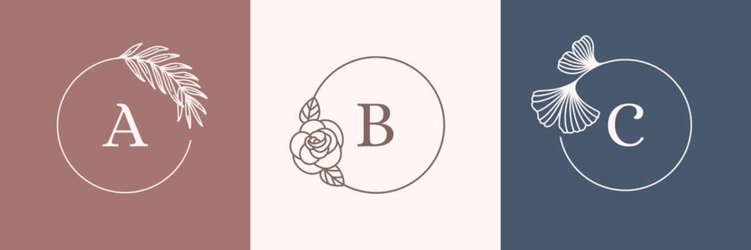 A set of Round Botanical frames in a trendy minimal linear style. Vector abstract logo design template palm leaf, rose and Ginkgo biloba leaf. Flower Frame with copy space for text or letter ABC