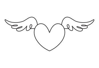 Continuous line drawing. Heart with wings. Valentine's day. Love. Black isolated on white background