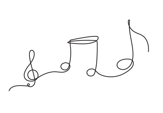 one line drawing of music notes isolated vector object continuous simplicity lineart design of sign and symbols.