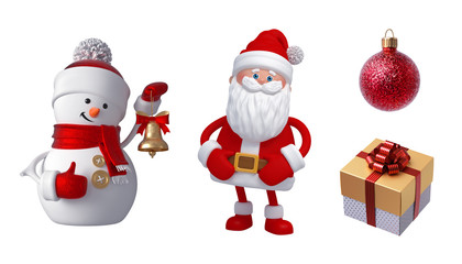 3d Snowman, Santa Claus, gift box, bell, glass ball. Christmas clip art set isolated on white background. Festive ornaments. Cute cartoon characters. Holiday icons, seasonal decor elements.