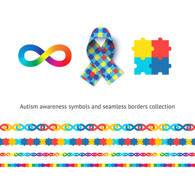 Autism awareness symbols and seamless borders vector set. Children with concern medical illness tolerance concept. Colorful jigsaw puzzle, awareness ribbon and flamboyant infinity sign illustrations