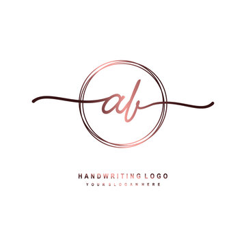 AB Initial handwriting logo design with circle lines dark pink gradation color. handwritten logo for fashion, beauty, team, wedding, luxury logo