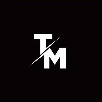 TM Logo Letter Monogram Slash with Modern logo designs template