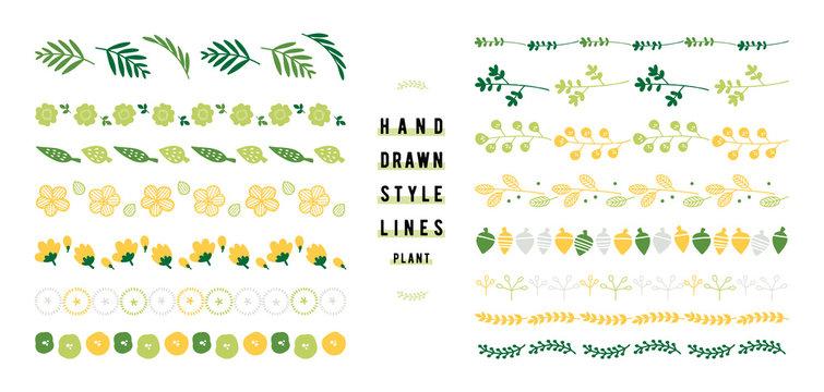 植物の飾り罫のセット(ヨコ)