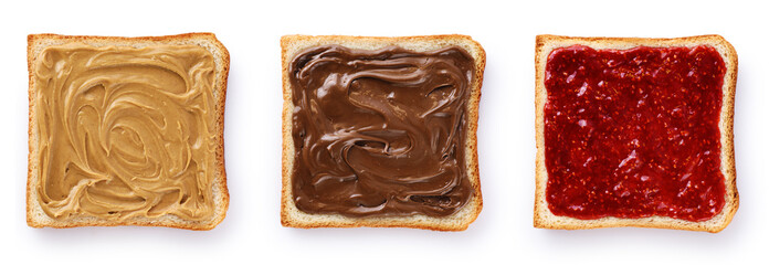 In de dag Snack Toasts with chocolate butter, peanut butter and berry jam isolated on white background.