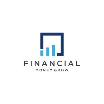 Financial Bar / chart icon logo design flat minimalist