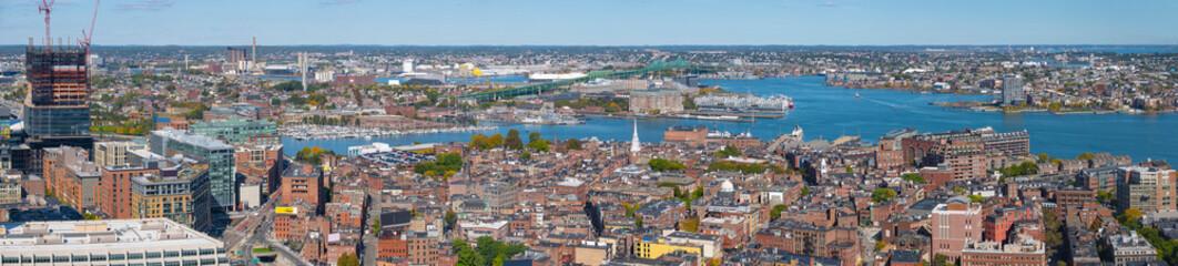 Boston harbor waterfront aerial view panorama, Boston, Massachusetts, MA, USA.