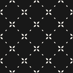 Minimalist floral seamless pattern. Simple vector black and white abstract geometric background with small flowers, crosses, tiny stars, grid. Subtle minimal monochrome texture. Dark repeat design