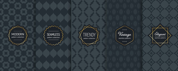 Black vector seamless patterns. Collection of luxury ornamental backgrounds Wall mural