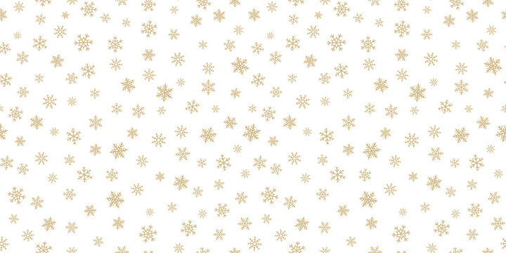 Golden snowflakes background. Luxury vector Christmas seamless pattern with small gold snow flakes on white backdrop. Winter holidays texture. Repeat design for decor, wallpapers, wrapping, website