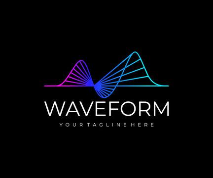 Sound wave logo design. Music waveform vector design. Audio signal logotype