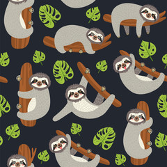 Seamless background with Sloth on the branch. Vector illustration of leaves and cute bear on black. Floral and animal pattern.