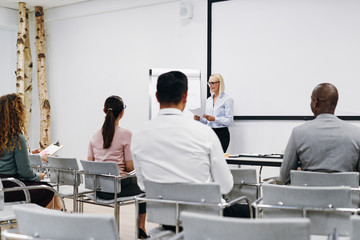 Smiling manager giving a presentation to her diverse staff