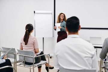 Young businesswoman giving a presentation to office colleagues