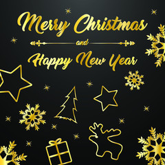 Christmas greetings with the message Merry Christmas and Happy New Year with Christmas symbols (gift, stars, Christmas tree, reindeer, snowflakes) in gold