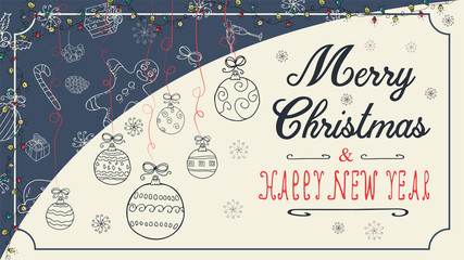 banner Christmas new year outline sketches for decoration design style childrens Doodle toys balls hanging on the left on the threads with a congratulatory inscription in the center
