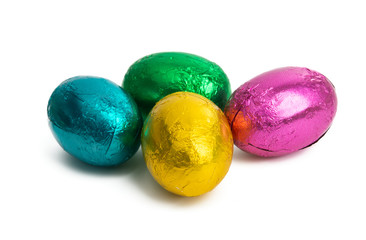 Easter chocolate eggs in foil