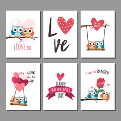 Canvas Prints Owls cartoon Valentine owls in love cards