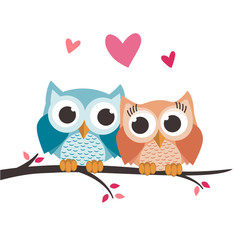 Valentine owls in love on a tree