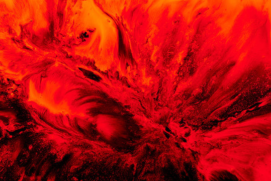 Abstract ruby nuclear explosion, liquid splash of wave of scarlet blood or red wine. Ocean of boiling lava