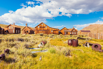 Antiquities in field in the Ghost town of Bodie California USA