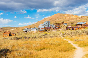 Footpath leading to Stamp Mill in the Ghost town of Bodie California USA