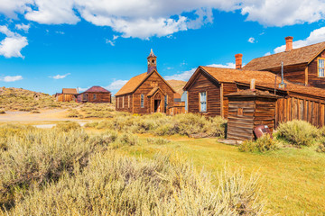 Wooden Church and Houses in the Ghost town of Bodie California USA