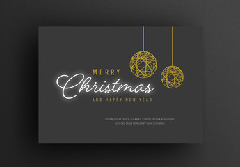 Christmas Card Layout with Dark Background and Gold Festive Elements