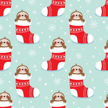 Christmas pattern with sloth