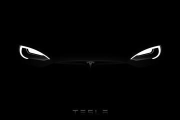 Headlights of black Tesla Model S in the dark. Vector illustration EPS 10
