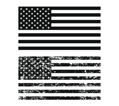 The United States of America flag. Flat style black sign. Vector Illustration image. USA National symbol. Grunge style rubber stamp.