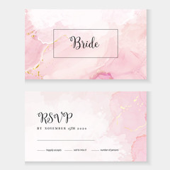 Blush pink watercolor fluid painting vector design card