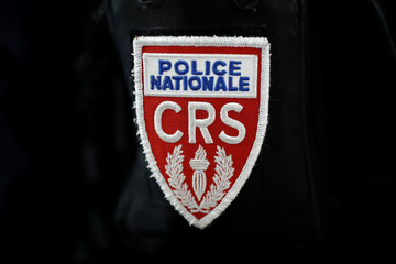 A badge of the Compagnies Republicaines de Securite (CRS), French riot police units, is pictured at the 21st Milipol Paris, the worldwide exhibition dedicated to homeland security, in Villepinte near Paris