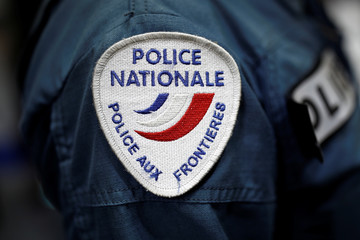 A badge of the Police Nationale, french border police, is pictured at the 21st Milipol Paris, the worldwide exhibition dedicated to homeland security, in Villepinte near Paris