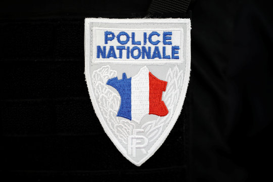A badge of the Police Nationale, french police, is pictured at the 21st Milipol Paris, the worldwide exhibition dedicated to homeland security, in Villepinte near Paris