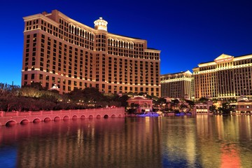 LAS VEGAS, USA - APRIL 14, 2014: Bellagio and Caesars Palace view in Las Vegas. Both hotels are among 15 largest hotels in the world with 3,950 and 3,960 rooms respectively.