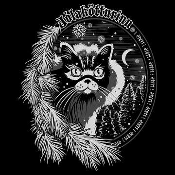 The Christmas Cat of Iceland - The Yule Cat - Jolakotturinn, Icelandic mythological character. Christmas design