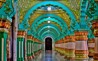 MYSORE,KARNATAKA,INDIA - OCTOBER 20,2019 : Mysore palace inside architecture.Mysore palace, a historical palace and royal residence located within the Old Fort area of Mysore(Mysuru)