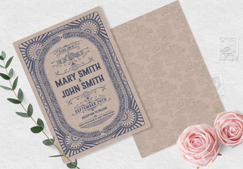 Wedding Invitation Layout with Vintage Embellishments