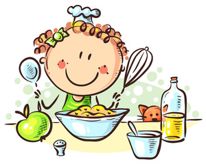 Happy cartoon girl cooking, colorful vector illustration