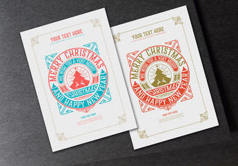 Vintage Winter Holiday Greeting Poster Layout