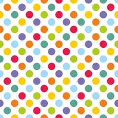 Seamless vector pattern with colorful polka dots on white background for backgrounds, blogs, www, scrapbooks, party or baby shower invitations and elegant wedding cards.